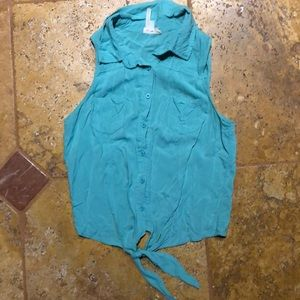 Turquoise Button Down Tank